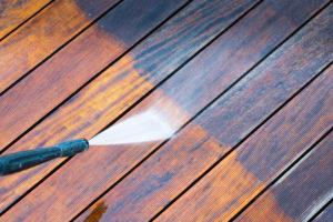 Power washing deck cleaning.